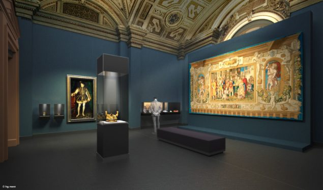 Visualisation of a room in the Kunstkammer of the Kunsthistorisches Museum, Vienna