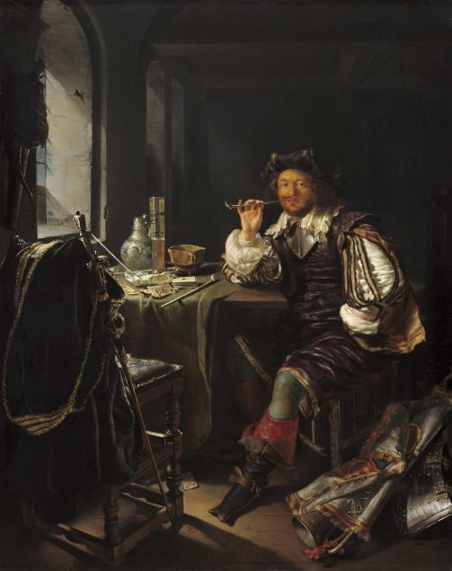 Frans van Mieris, Soldier Smoking a Pipe, c. 1657