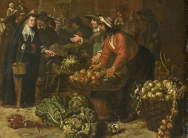 Details of Sybrand van Beest, Vegetable Market, 1646 Rijksmuseum Amsterdam