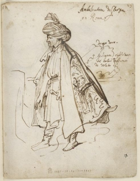 Anthony van Dyck (1599-1641), Leaf from the 'Italian Sketchbook' showing Sir Robert Sherley, Persian Envoy in Rome in 1622, The British Museum London © The Trustees of the British Museum