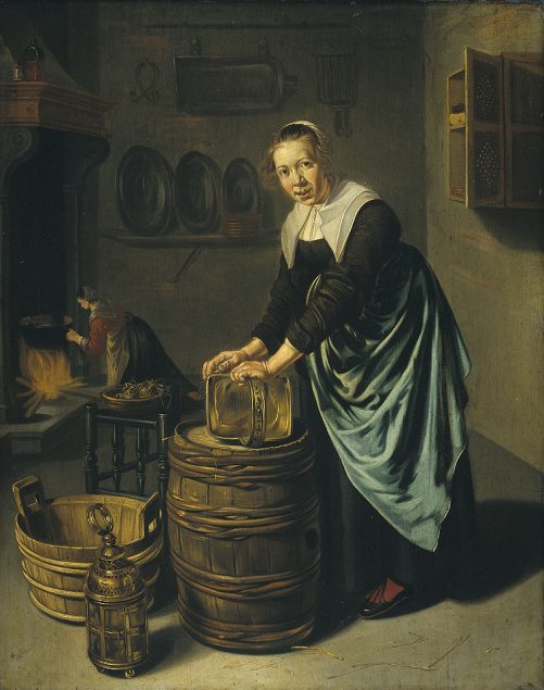 Willem van Odekerken (ca. 1631-1677), Woman Scouring a Vessel Rijksmuseum, Amsterdam