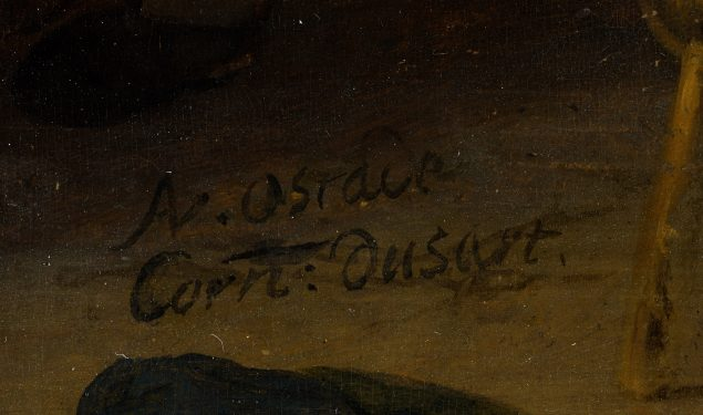 Signatures of Cornelis Dusart and Adriaen van Ostade Detail of the Peasant Inn Mauritshuis, The Hague