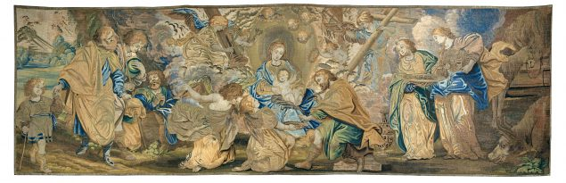 Altar frontal with the Circumcision of Christ. Tapestry design attributed to Peter Paul Rubens and his studio; woven by Jan de Clerck, Brussels, 1636. Wool, silk, and silver and gilt metal-wrapped thread, 91 x 295 cm. Private collection