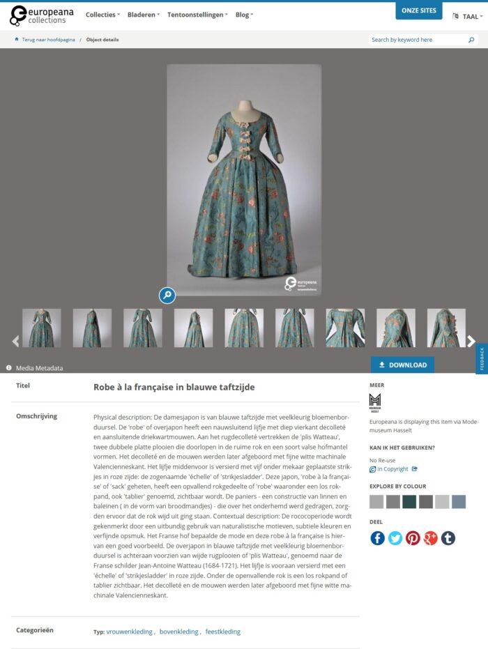 Fig. 4 Europeana Fashion Portal's page on <em>Robe à la Française in blue taffeta</em>
