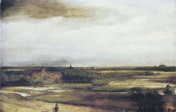 Philips Koninck (act. 1639-1676), <em>View of Saxenburg estate with bleaching fields near Haarlem known as The Goldweigher's Field</em>, 1651