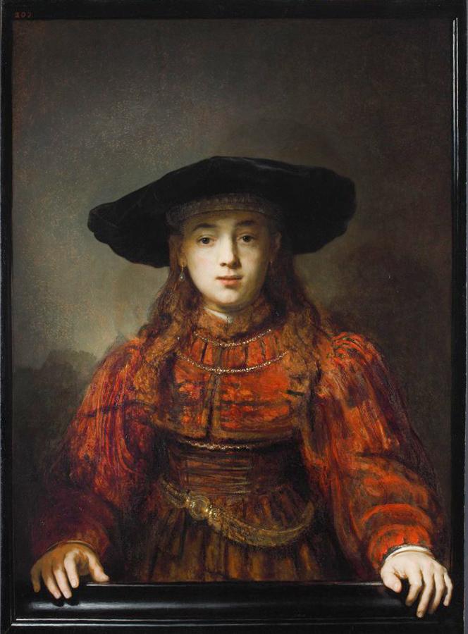 Rembrandt van Rijn (1606-1669), <em>Girl in a Picture Frame</em>, 1641<br>Royal Castle, Warsaw-