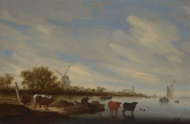 Salomon van Ruysdael (1602-1670), River Landscape with Cows and a Windmill, 1667 Kunsthalle Bremen – Der Kunstverein in Bremen