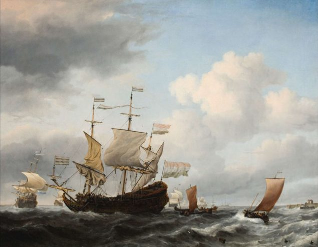 Willem van de Velde, the Younger (1633-1707), A Dutch Flagship Coming to Anchor Close to the Land in a Fresh Breeze, about 1672 Susan and Matthew Weatherbie Collection