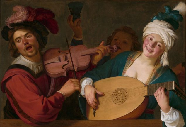 Gerrit van Honthorst (1592-1656), A Merry Group behind a Balustrade with a Violin and a Lute Player, ca. 1623 Rose-Marie and Eijk van Otterloo Collection