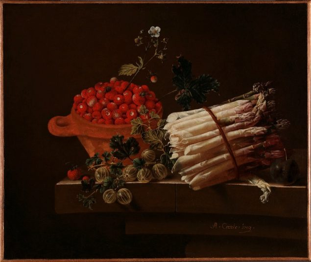 Adriaen Coorte (1665-1017), <em>Still Life with a Bowl of Strawberries, a Spray of Gooseberries, Asparagus and a Plum</em> 1703 Gift from the collection of Willem Baron van Dedem, 2017 © The National Gallery, London
