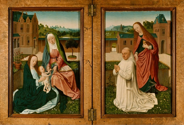 Master of the Brunswick Diptych (act. ca. 1480-1510), <em>Virgin and Child with St Anne, a Carthusian monk and St Barbara</em>, ca. 1490 Herzog Anton Ulrich-Museum, Braunschweig
