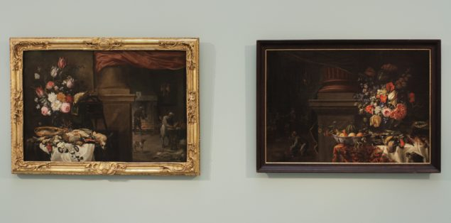 <em>Kitchen Still-life</em>, by David Teniers II, Nicholas Verendael and Carstian Luyckx (from the Gemäldegalerie Alte Meister in Dresden) reunited with Angermeyer's <em>Preparation of a Feast</em> from the National Gallery in Prague.