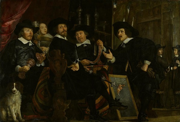 Bartholomeus van der Helst (1613 - 1670), The headmen of the Longbow Civic Guard House (before restoration), 1653 Amsterdam Museum, Amsterdam