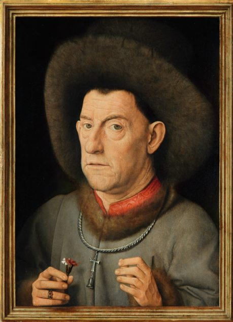 Follower of Jan van Eyck (ca.1390–1441), <em>Portrait of a Man with carnation and the Order of Saint Anthony</em>, ca. 1435 Gemäldegalerie, Berlin