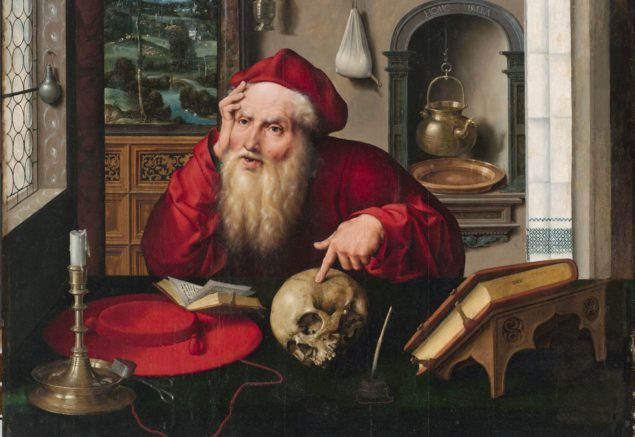 Joos van Cleve (ca. 1485-1540), <em>Saint Jerome in His Study</em> (detail), 1521<br /> Harvard Art Museums/Fogg Museum, Boston</em>
