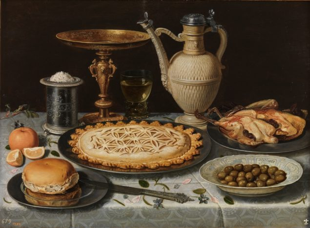 Clara Peeters (1588 - 1621), Table with Cloth, Salt Cellar, Gilt Standing Cup, Pie, Porcelain Plate with Olives and Cooked Fowl, ca. 1611 Museo Nacional del Prado, Madrid