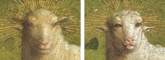 Detail of the Lamb before treatment (left) and after overpaint removal (right).
