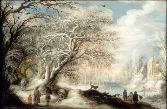 Gijsbrecht Leytens (1586 - 1650), <em>Winter Landscape with Gypsies and Skaters</em>, after 1610 <br>Musée d'arts de Nantes, Nantes