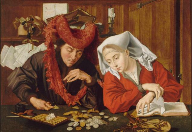 Workshop of Marinus van Reymerswale (ca. 1490-1546), <em>The Moneychanger and His Wife</em> (detail), after 1546<br> Musée d'arts de Nantes, Nantes