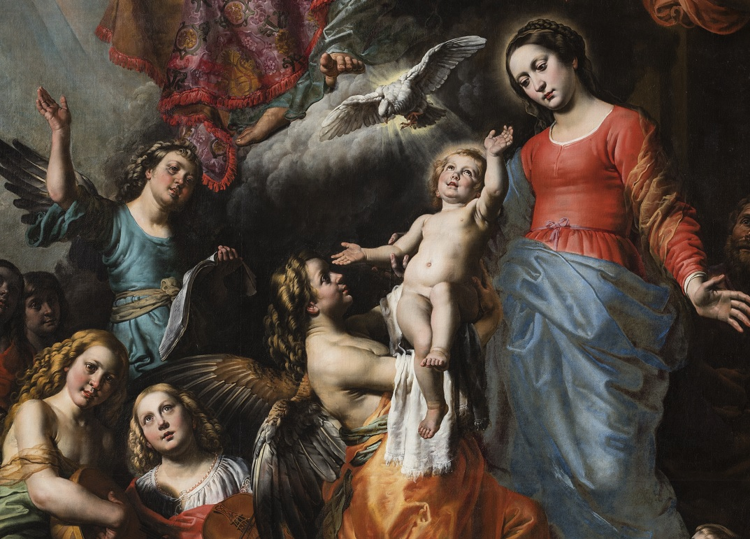 Theodoor van Loon (1581-1649), Holy Trinity with Mary, St. John the Baptist and Angels, (detail after restoration)