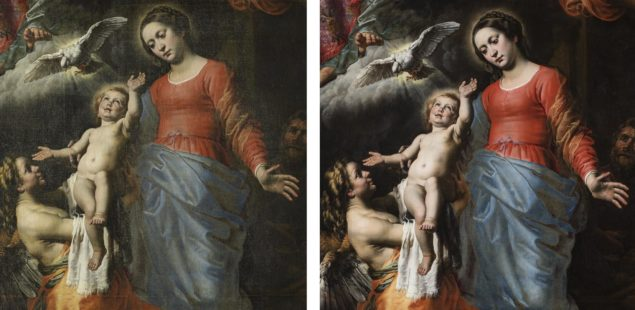 <em>Holy Trinity with Mary, St. John the Baptist and Angels</em> before and after restoration Photo: KIK/IRPA, Brussels
