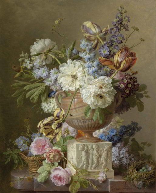 Gerard van Spaendonck (1746-1822), Still Life of Flowers in Alabaster Vase, 1783 Rijksmuseum, Amsterdam