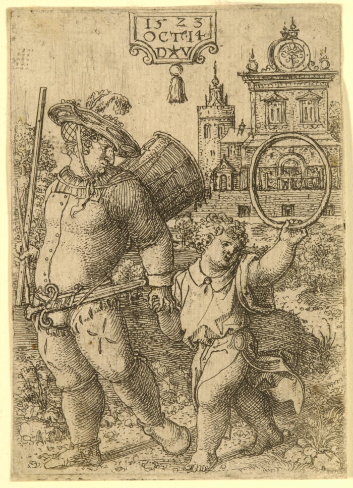 Fig. 2 Dirk Vellert, Drummer with a Child Holding a Hoop, etching, 1523.