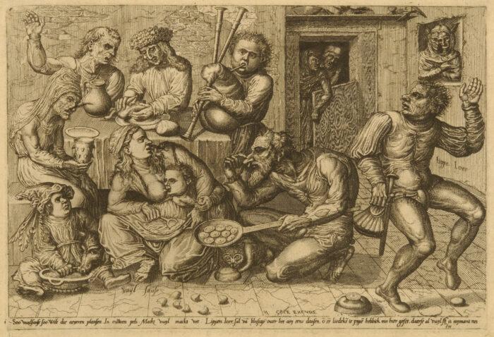 Fig. 1 Jan and/or Lucas van Doetecum, after Frans Verbeeck, Dirty Sauce, etching and engraving, c. 1560.
