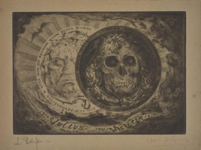 Fig. 5 Henry de Groux, L'Eclipse, preparatory work for the portfolio Le Visage de la Victoire, etching, 1916.