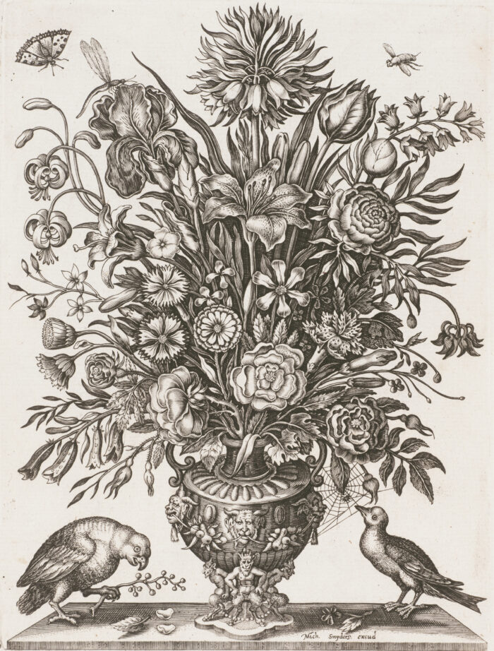 Fig. 6 Michiel Snyders, untitled (bouquet of flowers in ornate vase, with insects), engraving, 1612–14.