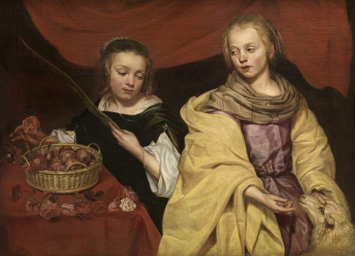 Michaelina Wautier (1617-1689), Two girls as Saints Agnes and Dorothea, 1643-59 Royal Museum of Fine Arts Antwerp