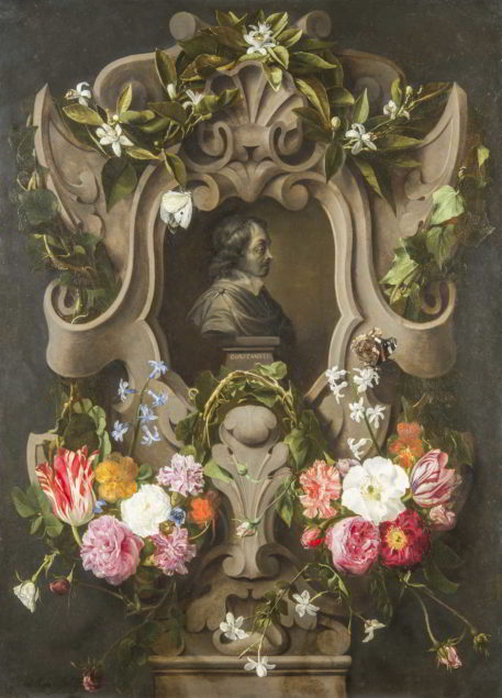 Daniël Seghers and Jan Cossiers, <em>Bust of Constantijn Huygens Surrounded by a Garland of Flowers (1596-1687)</em>, 1644<br /> Mauritshuis, The Hague