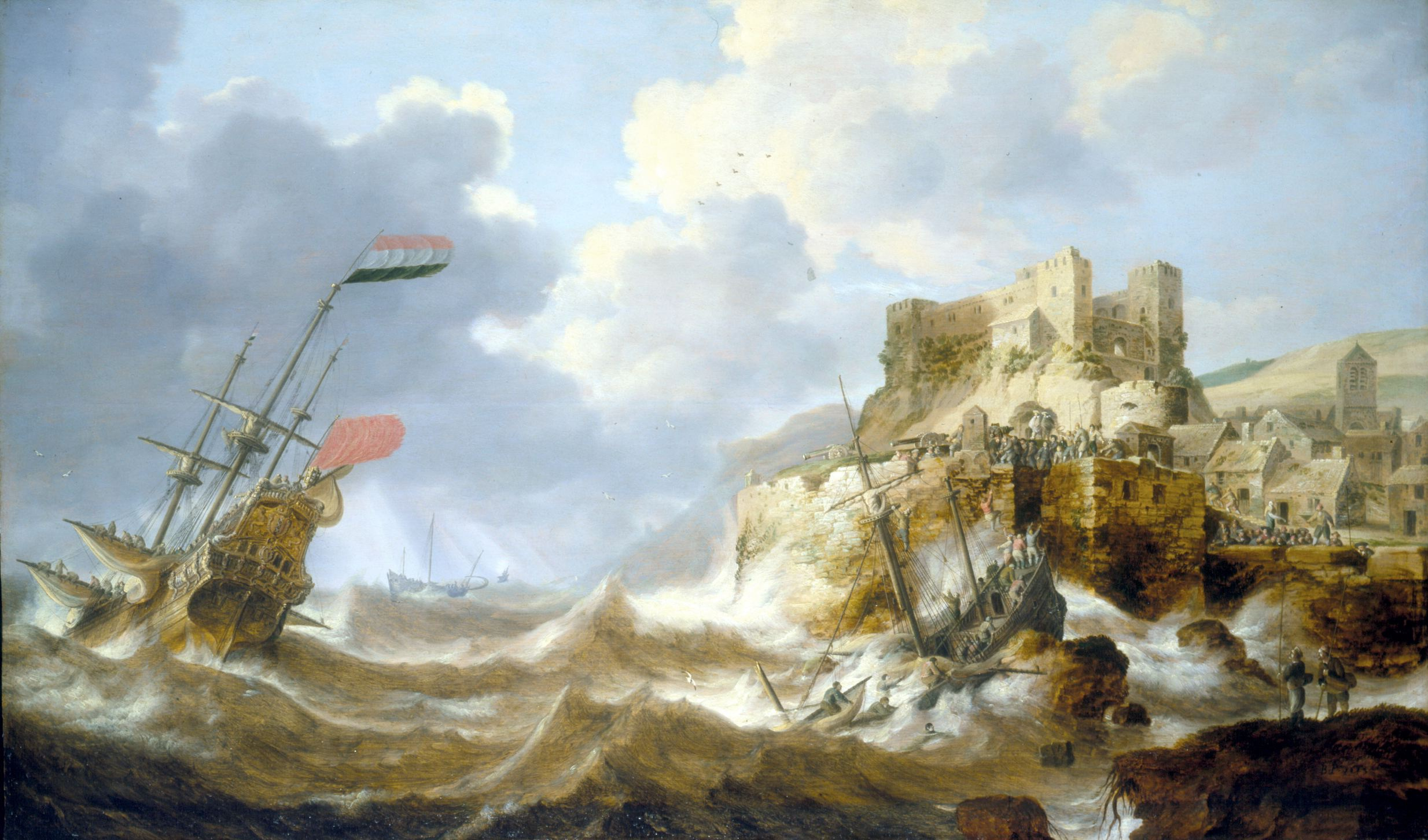 Bonaventura Peeters the Elder (1614-1652), A Coastal Landscape with a Three-Master in distress and a Shipwreck by a Fortified Town, Signed with initials and dated 'G.P. 1643'