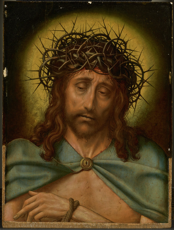 Quinten Massijs (1465/1466), <em>Christ as the Man of Sorrows</em> (pre-conservation), ca. 1520-30 J. Paul Getty Museum, Los Angeles