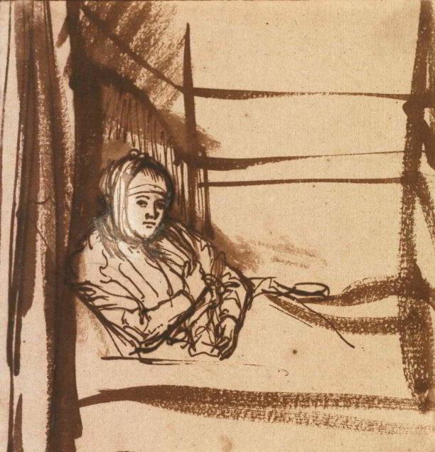 Rembrandt (1606-1669), Saskia in Bed</em>, ca. 1638 Staatliche Kunstsammlungen Dresden, Kupferstich-Kabinett, Dresden