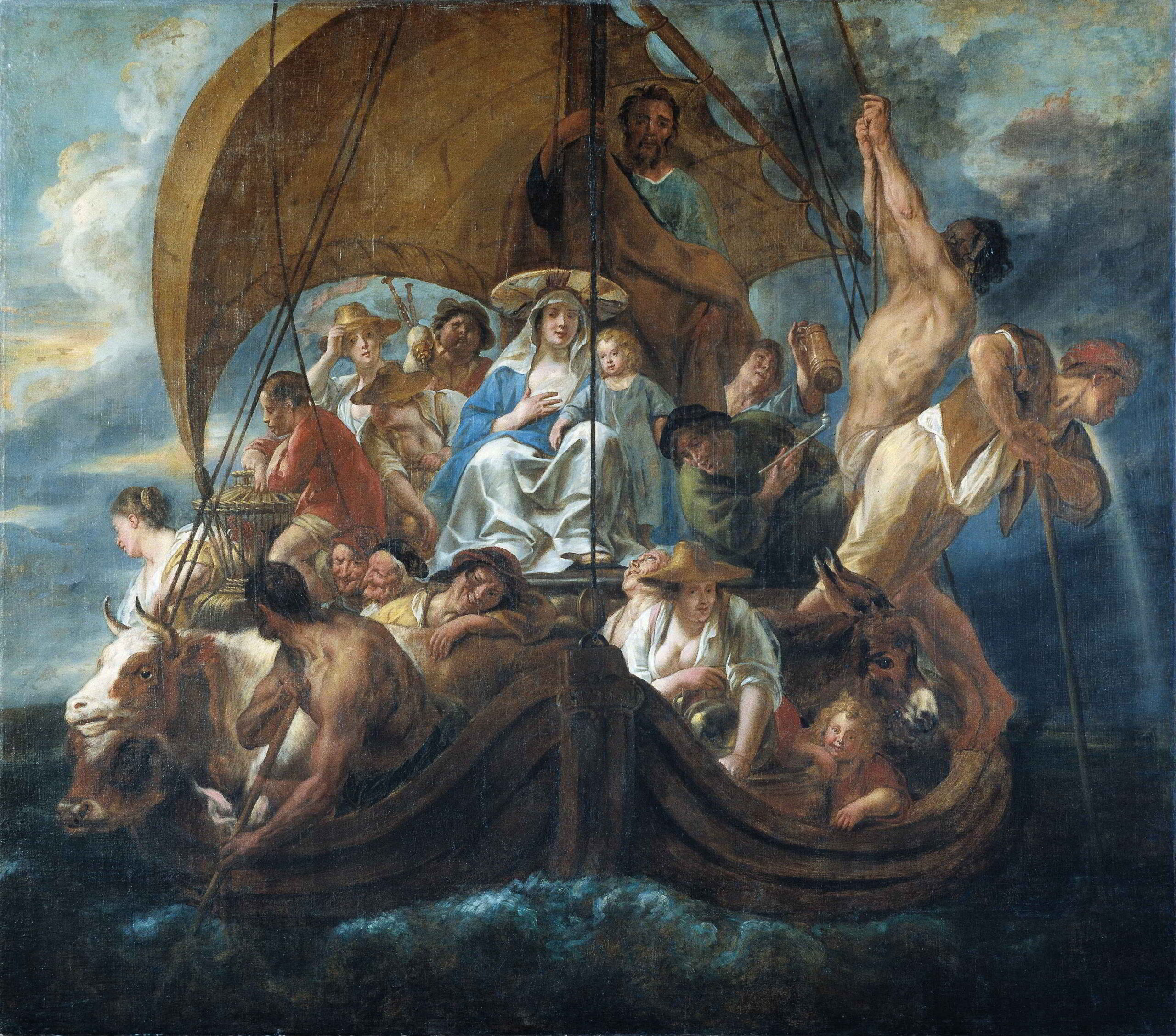 Jacob Jordaens (1593-1678), The Holy Family with Various Persons and Animals in a Boat, 1652 Skokloster Castle, Stockholm