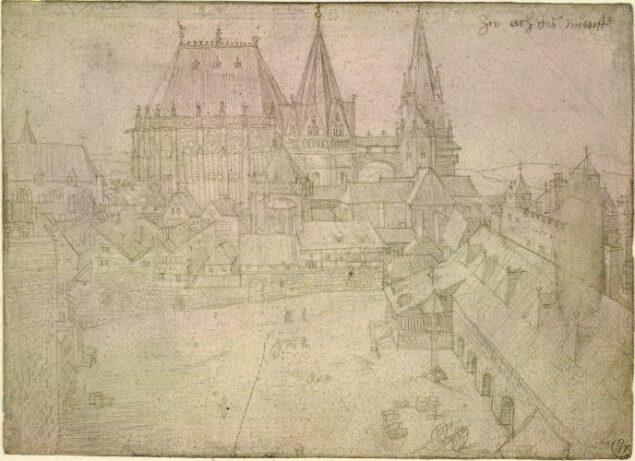 Albrecht Dürer (1471-1528), Aachen Cathedral and the Katschhof,1520, British Museum, London