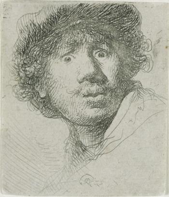Rembrandt (1606-1669), <em>Self-Portrait in a Cap, Open-Mouthed</em> (also called Self Portrait with Beret, Wide-Eyed), 1630 Frances Lehman Loeb Art Center, Poughkeepsie
