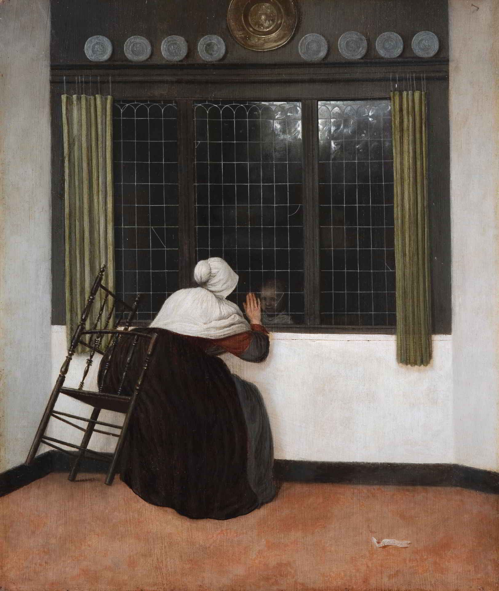 Jacobus Vrel (act. ca. 1650-1670), A Woman at a Window Waving at a Child, Fondation Custodia, Frits Lugt Collection, Paris