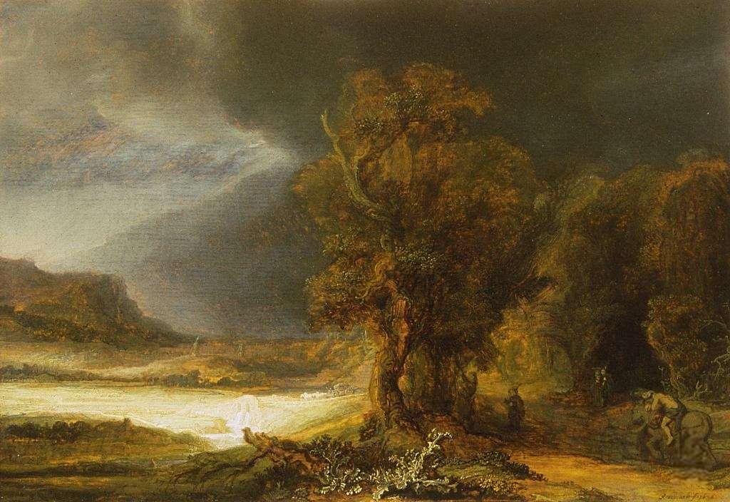 Rembrandt At The Royal łazienki Landscape With The Good