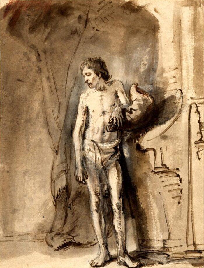 Circle of Rembrandt van Rijn (1606-1669), A Man Standing, ca. 1646 British Museum, London