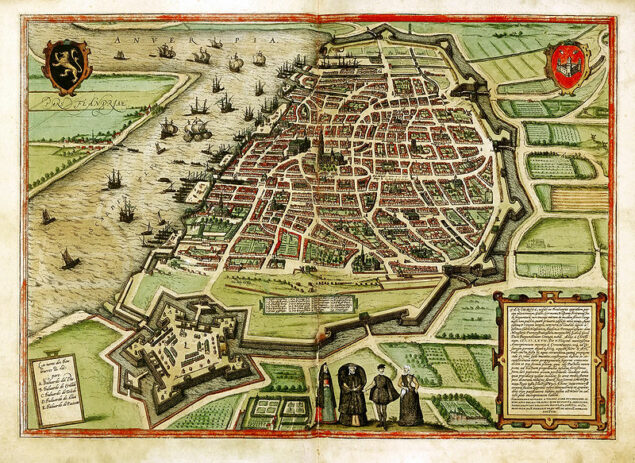 <em>View of Antwerp</em> from <em>Civitates orbis terrarum</em>, vol. 1, Braun and Hogenberg, Cologne, ca. 1575