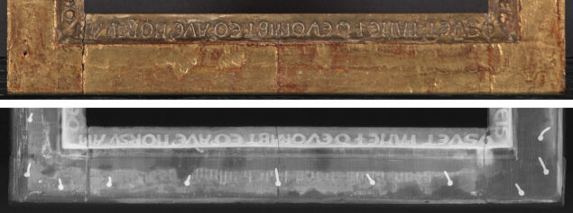he lower member of The Last Judgment frame in normal light (top) and a detail of the X-radiograph showing the mysterious hidden inscription (bottom) Photo: The Metropolitan Museum of Art, New York