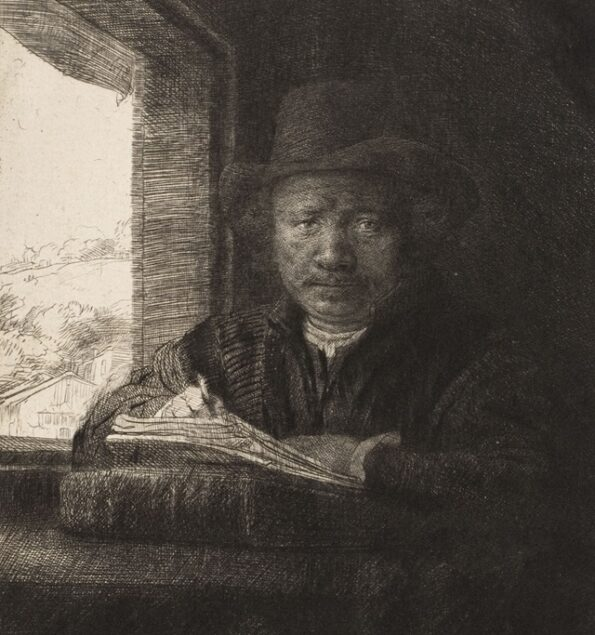 Rembrandt van Rijn (1606-1669), <em>Self Portrait Drawing at a Window</em> (detail), 1648 Metropolitan Museum of Art, New York