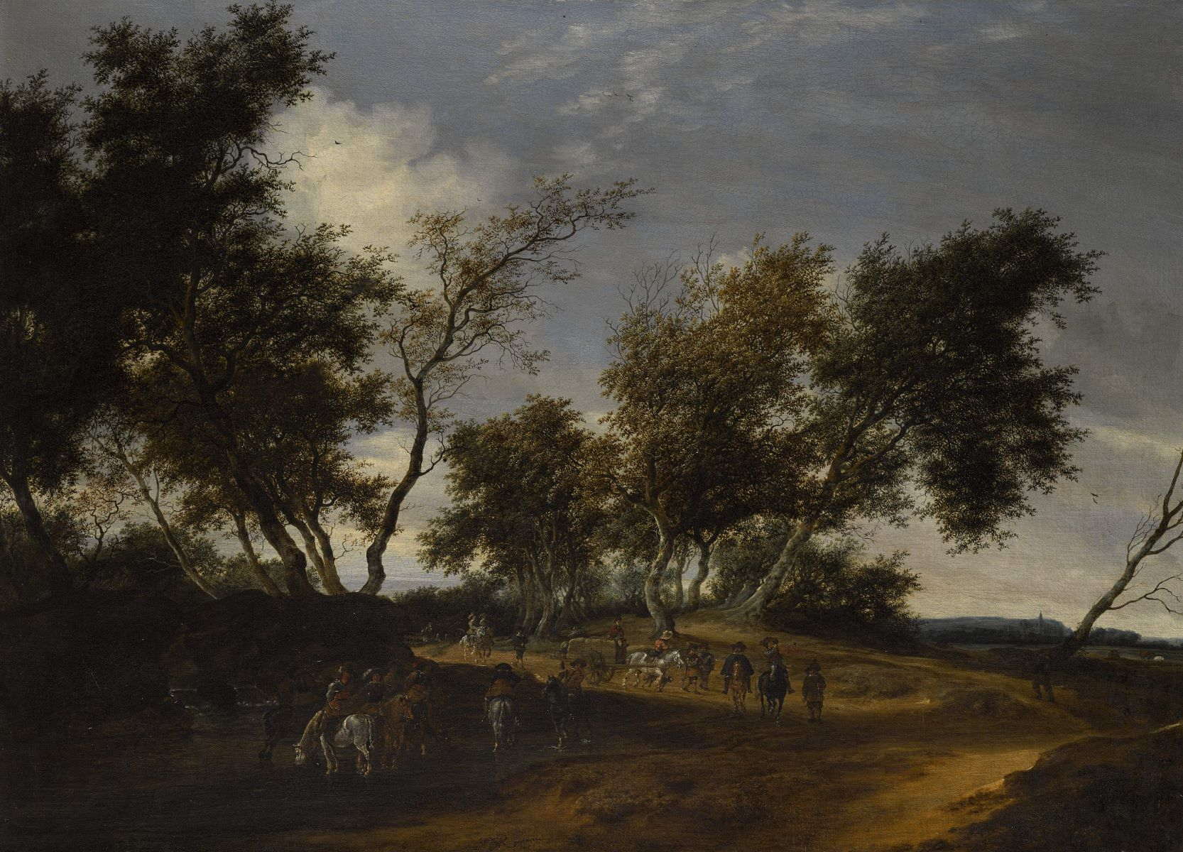 Salomon Van Ruysdael (ca.1600/1603 - 1670, A Cavalry Traveling through a Wooded Landscape, 1653 The Barber Institute of Fine Arts, University of Birmingham
