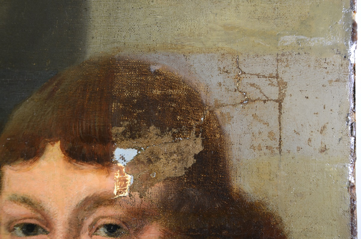 Close up of Van Everdingen's civic guard painting with some of the varnish removed (Photo: Roel Backaert)