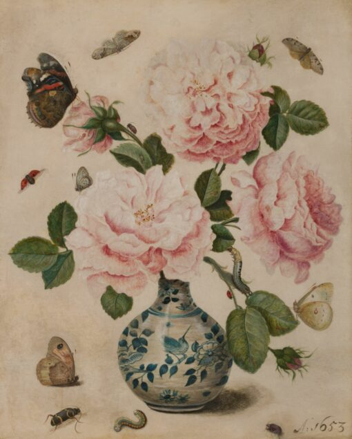 François de Geest (ca. 1635-before 1712), Flower Still Life with a Rose in Chinese Porcelain, 1653 Fries Museum, Leeuwarden