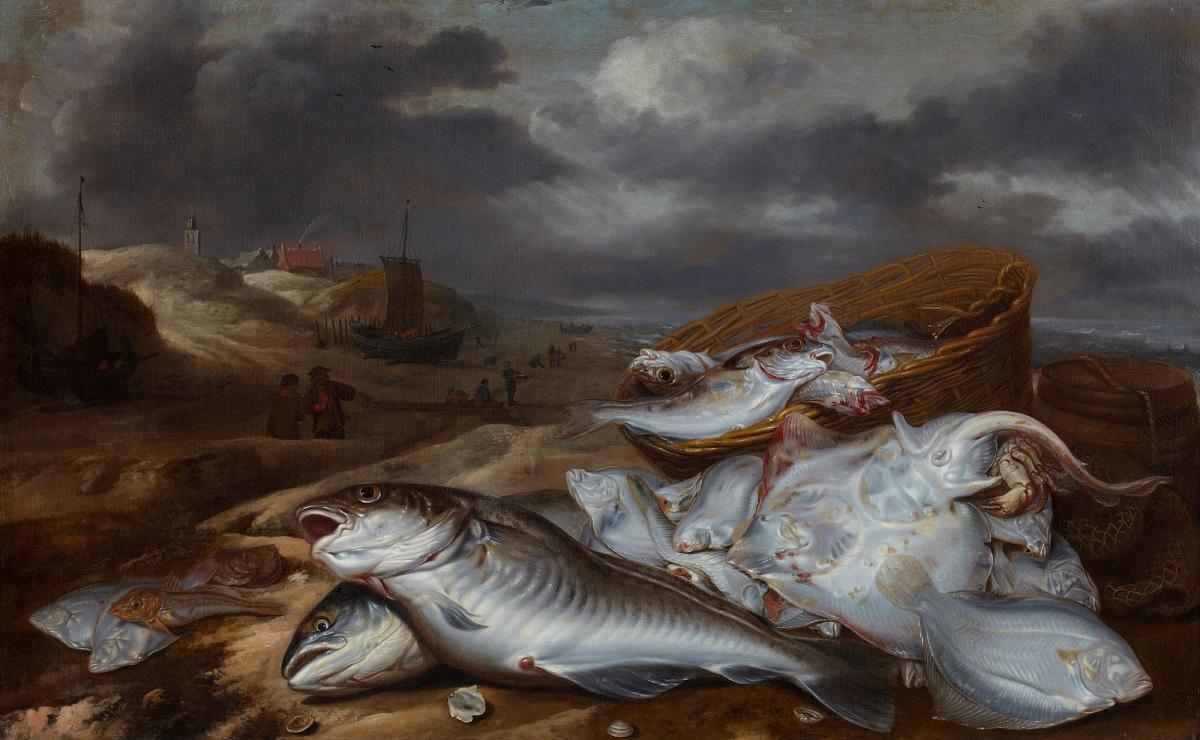 Pieter van Schaeyenborgh (active 1635-1657), Fish Still Life with a View of Egmond, ca. 1640-50 Stedelijk Museum Alkmaar, Alkmaar