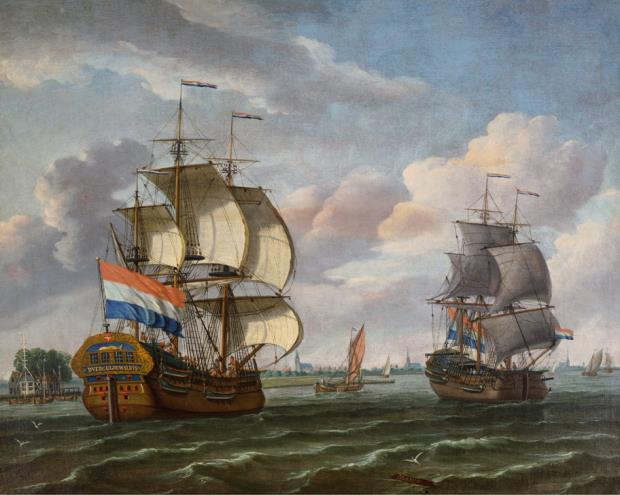"Johannes de Blaauw (1712-1778). Whaleship D'Vergulde Walvis (""The Golden Whale"") passing the tollhouse at Buiksloot on the IJ River, north of Amsterdam, 1759 New Bedford Whaling Museum, New Bedford, MA"