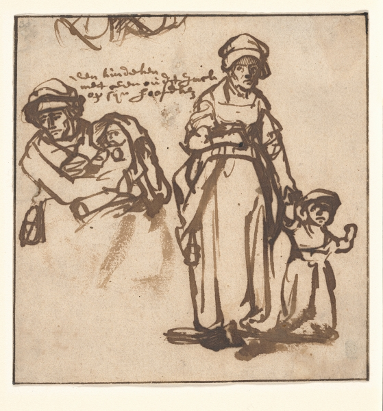 Rembrandt (1606-1669), <em>Studies of a woman and two children</em>, ca 1640 Ackland Art Museum, The University of North Carolina at Chapel Hill